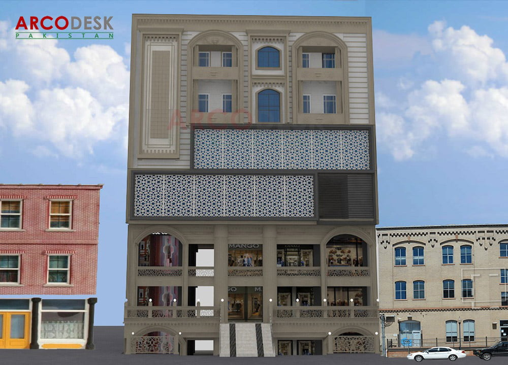 Classical Commercial Plaza Design at Faisal Town Islamabad