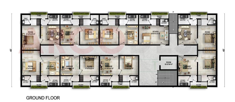 Ground Floor Plan of Z One Tower Near Eighteen Islamabad